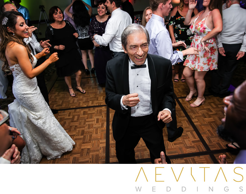 Father dancing at Santa Barbara wedding reception
