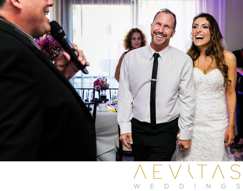 Couple laughing reaction at Santa Barbara wedding