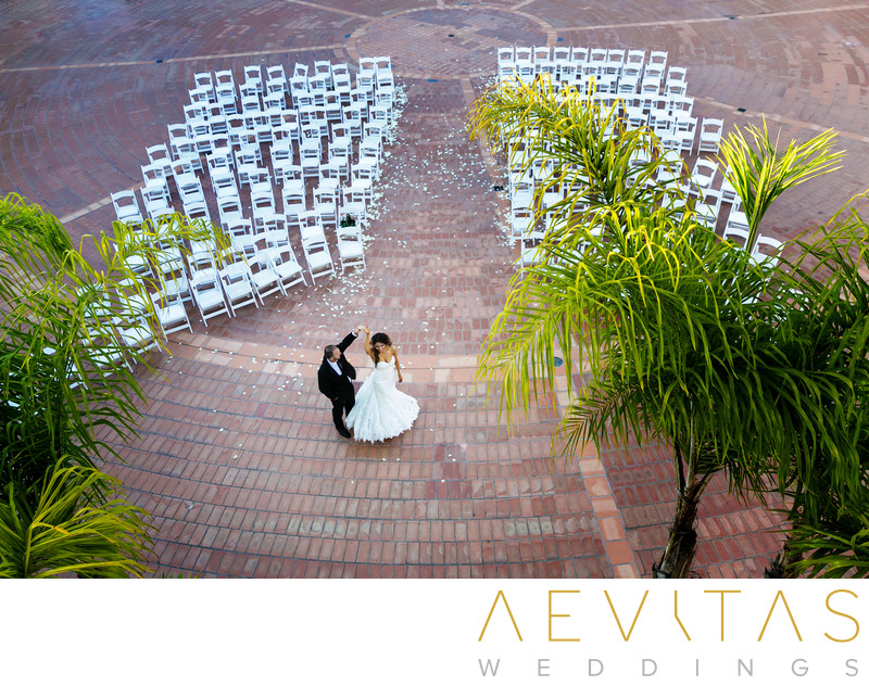 Bird's eye view of couple dancing at ceremony venue