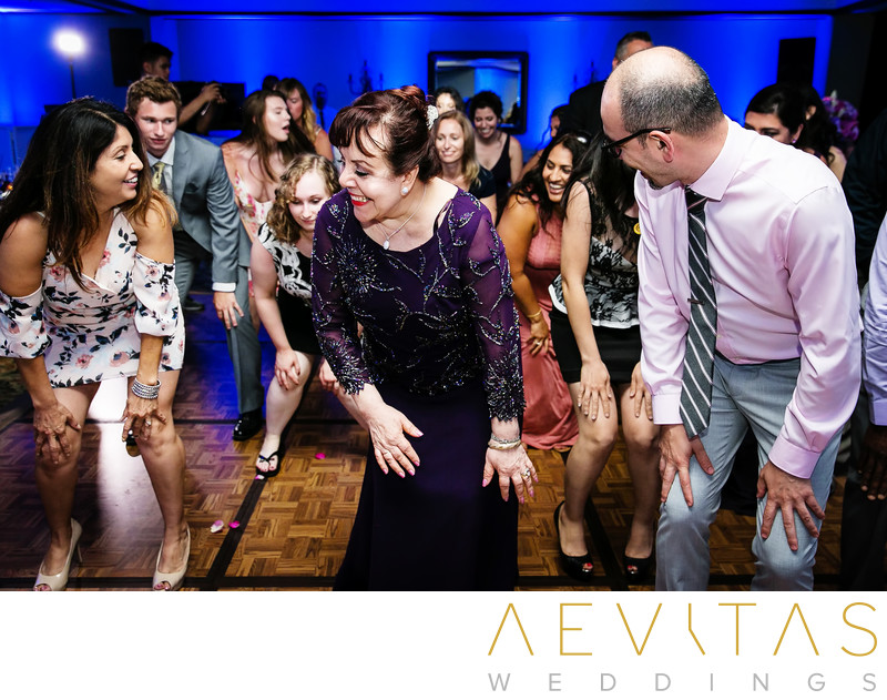 Wedding guests getting down during synchronized dance