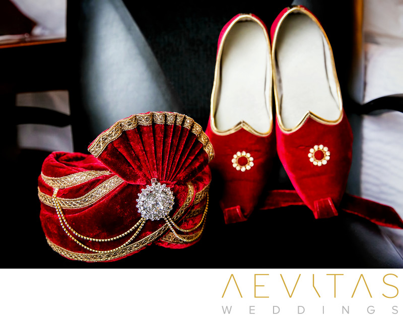 Groom's shoes and headwear at Indian wedding, San Diego