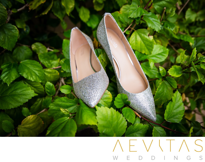 Bride shoes by San Diego wedding photographer