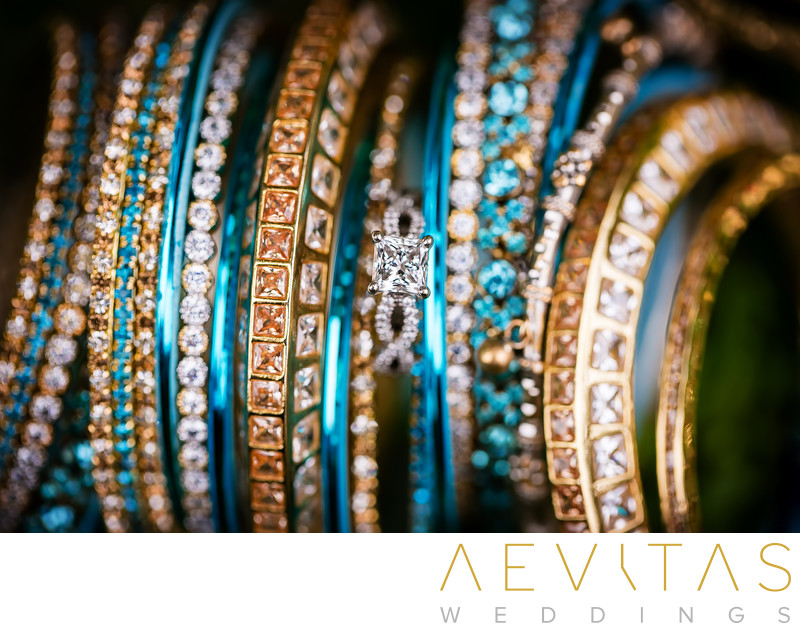 Gold and blue Indian wedding bangles in San Diego