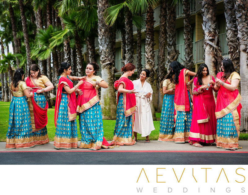 Bridesmaids getting ready for Indian wedding, San Diego