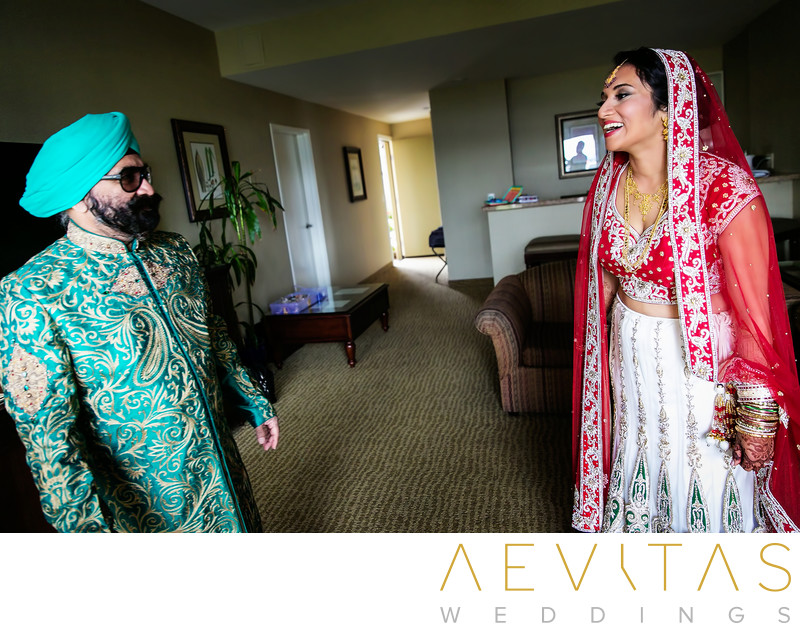 Father-daughter first look at Sikh wedding, San Diego