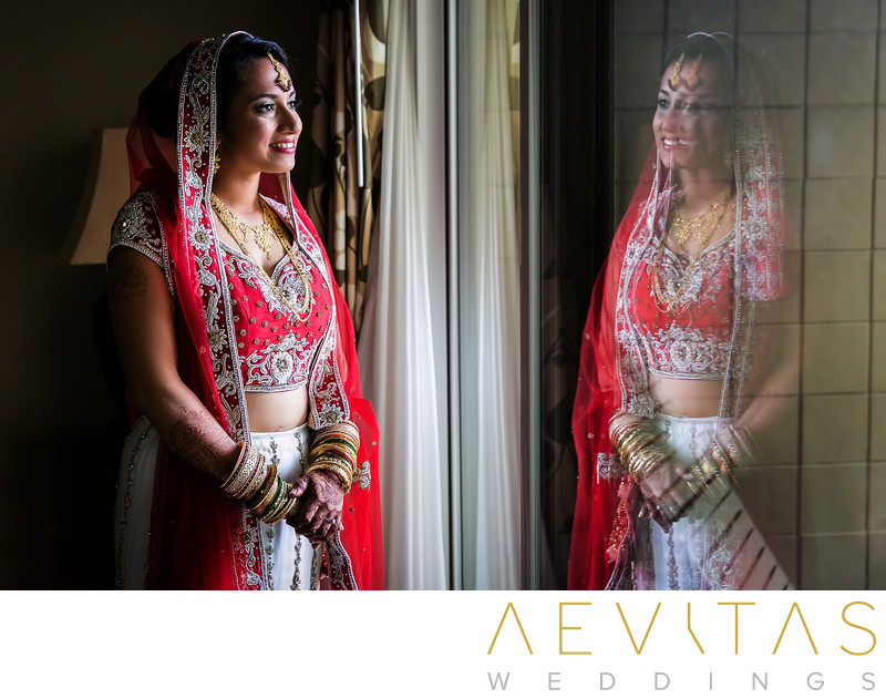 Reflective Indian bride portrait in San Diego