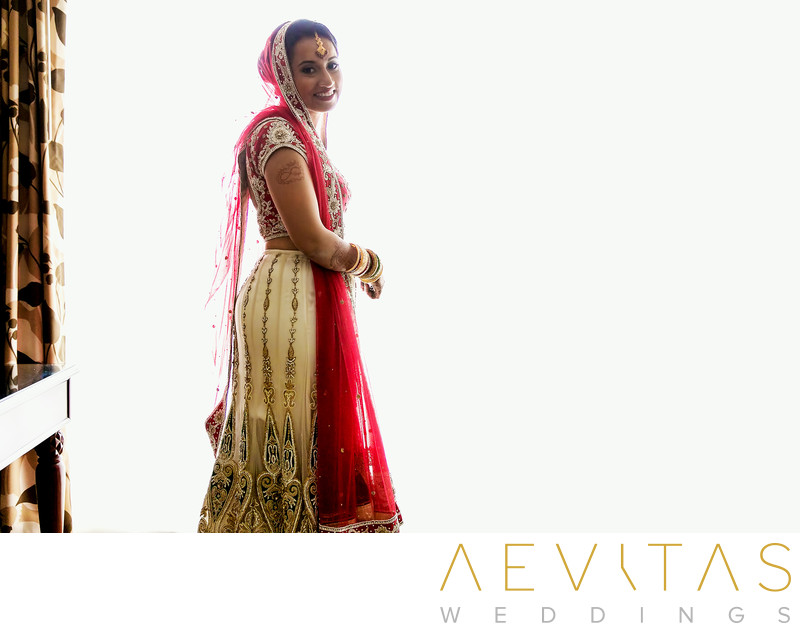 Indian bride portrait with white background San Diego