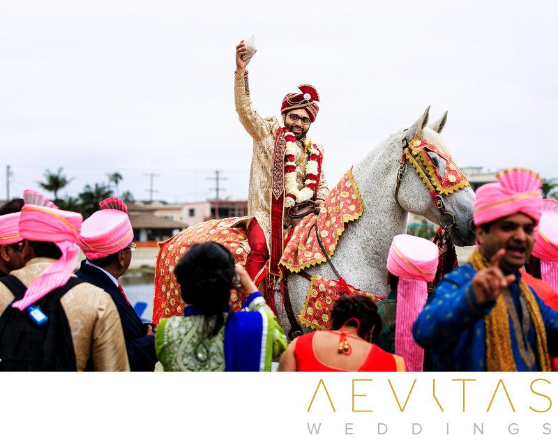 Indian groom on horse at San Diego wedding