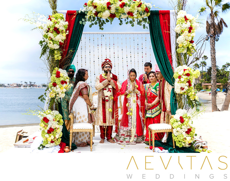 Beautiful Indian wedding photo at beach in San Diego
