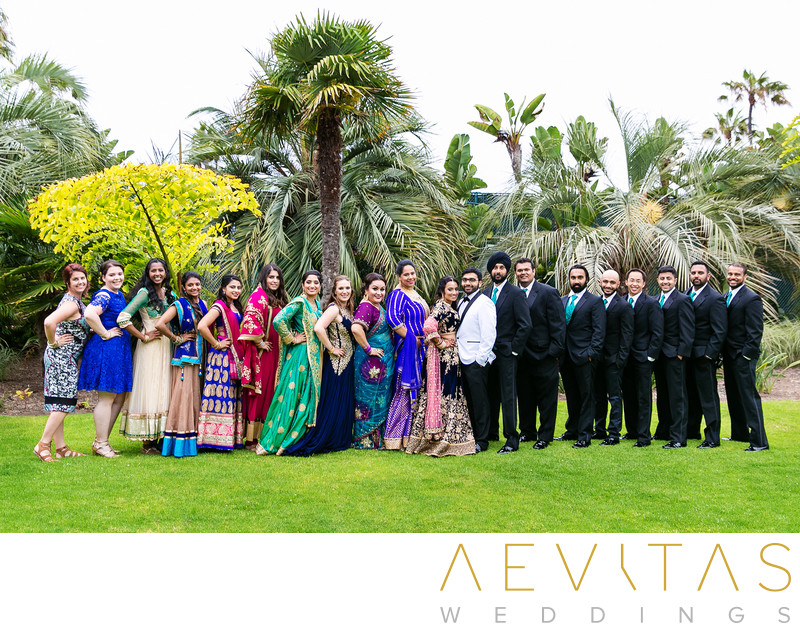 Colorful bridal party portrait at Indian wedding