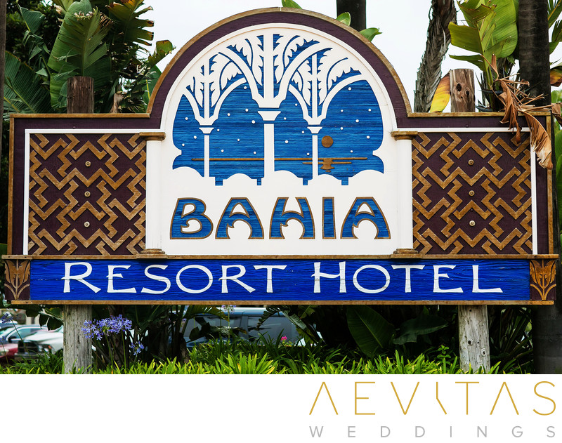 Entrance to Bahia Resort Hotel in San Diego