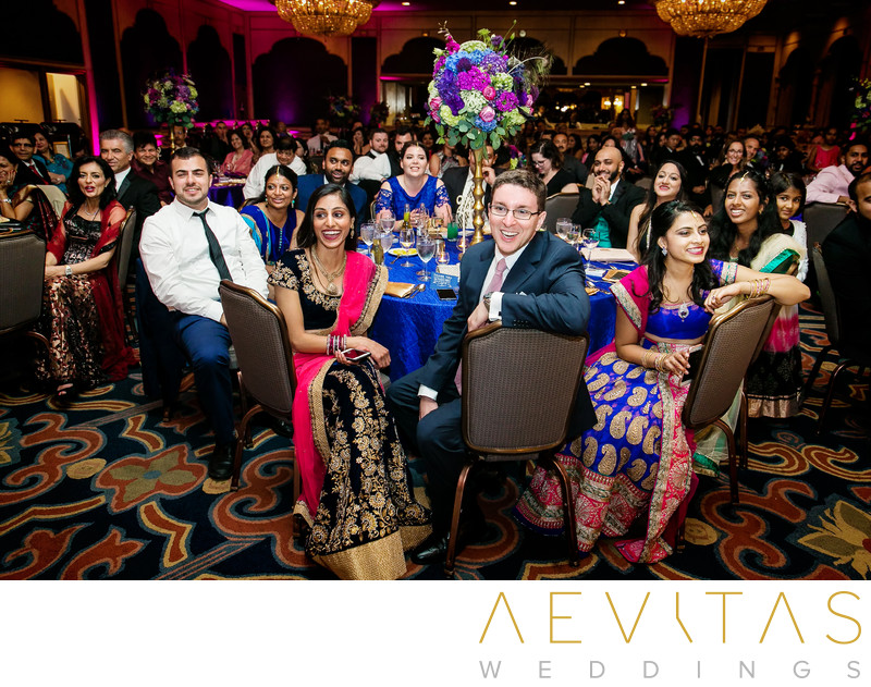 Wedding guests at Indian reception in San Diego