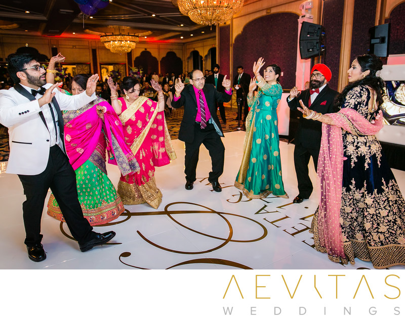 Family dancing at Indian wedding in San Diego