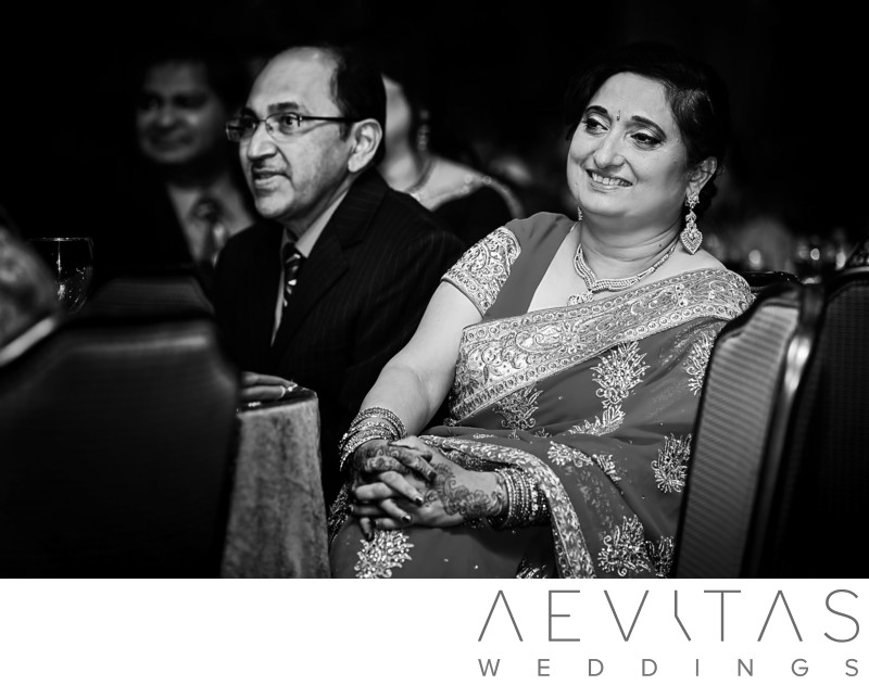 Parent reactions at wedding in black and white photo