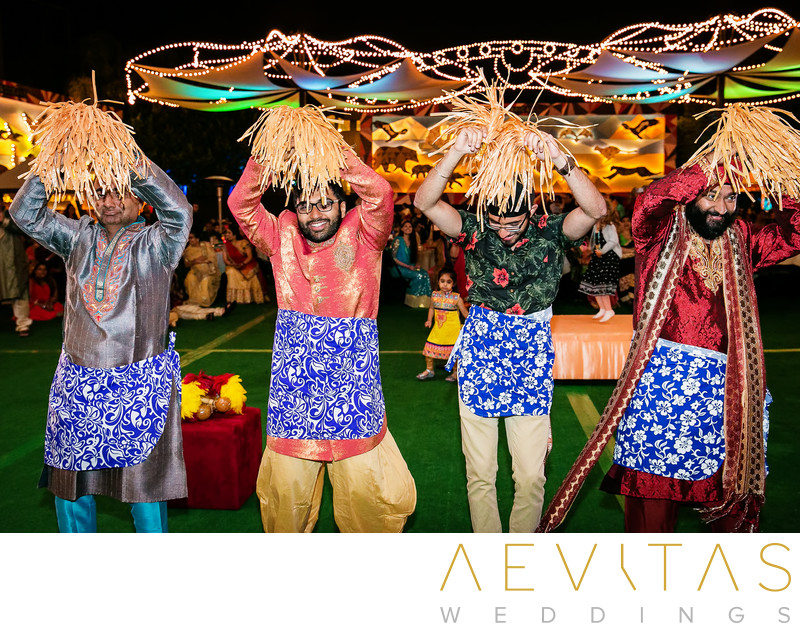 Indian wedding guests doing Polynesian dance