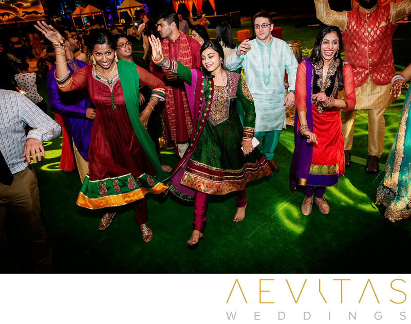 Wedding guests in traditional Indian attire, San Diego