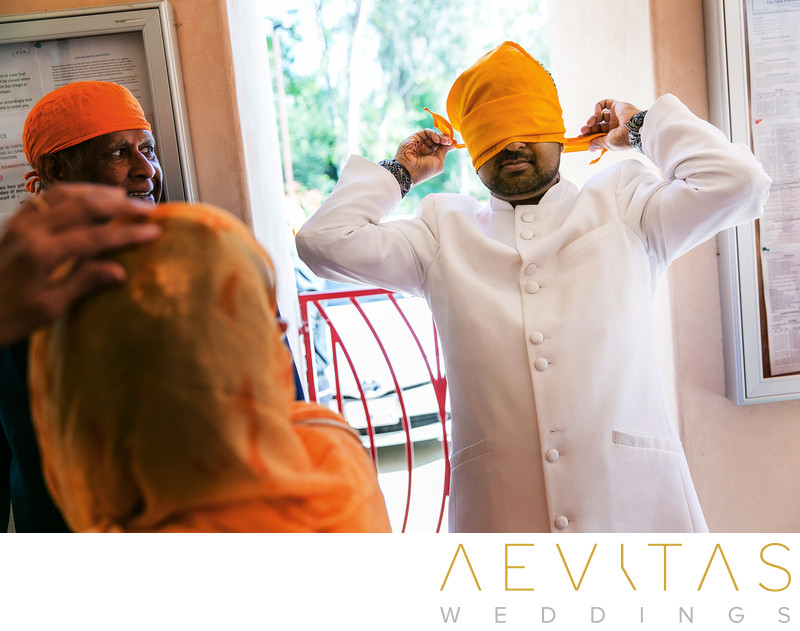 Groom getting ready for Sikh wedding in San Diego