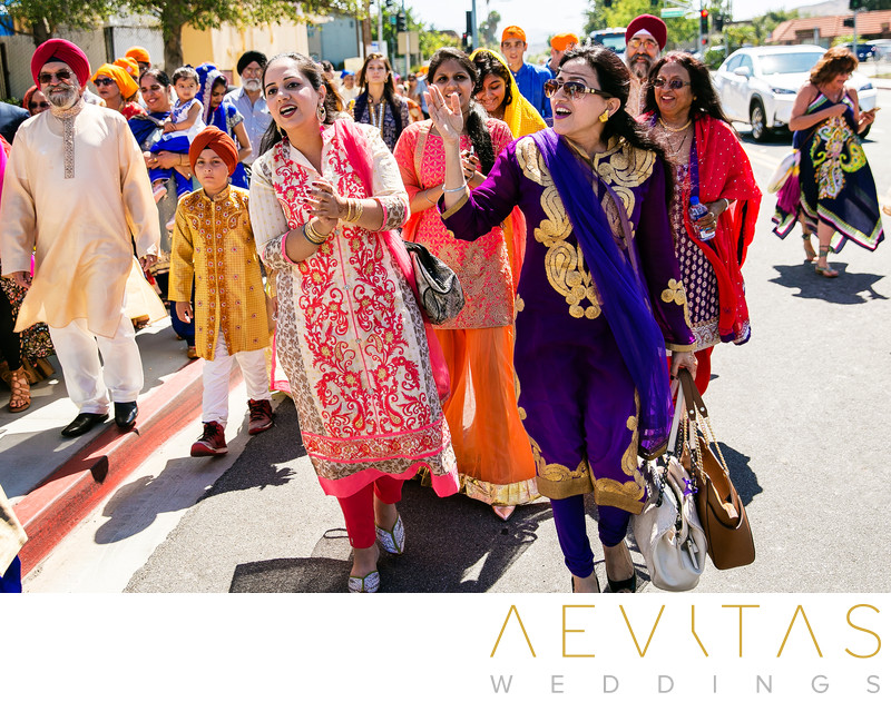 Family parade during Indian Baraat in San Diego