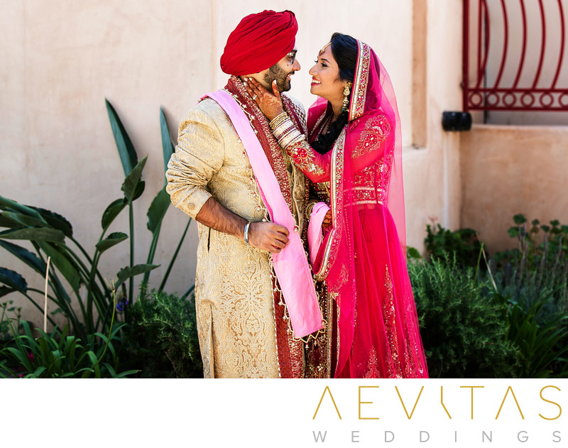 Couple portrait at Sikh Gurdwara Temple in Poway
