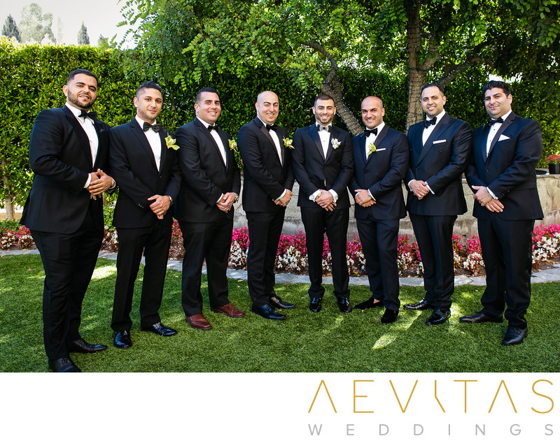 Groom with groomsmen in Century City gardens