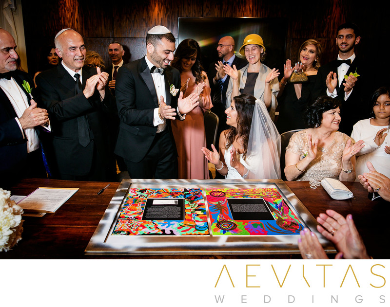 Couple sing Ketubah at Jewish wedding in Los Angeles