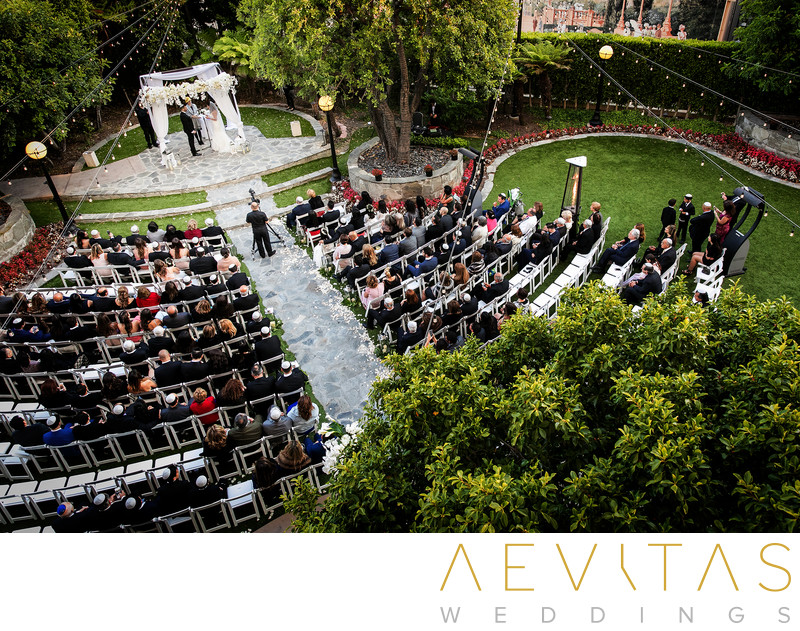 Elevated view InterContinental Century City wedding