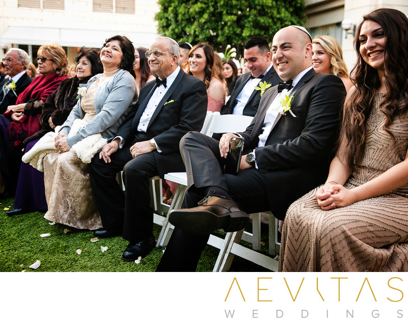 Family watch Jewish wedding ceremony in LA