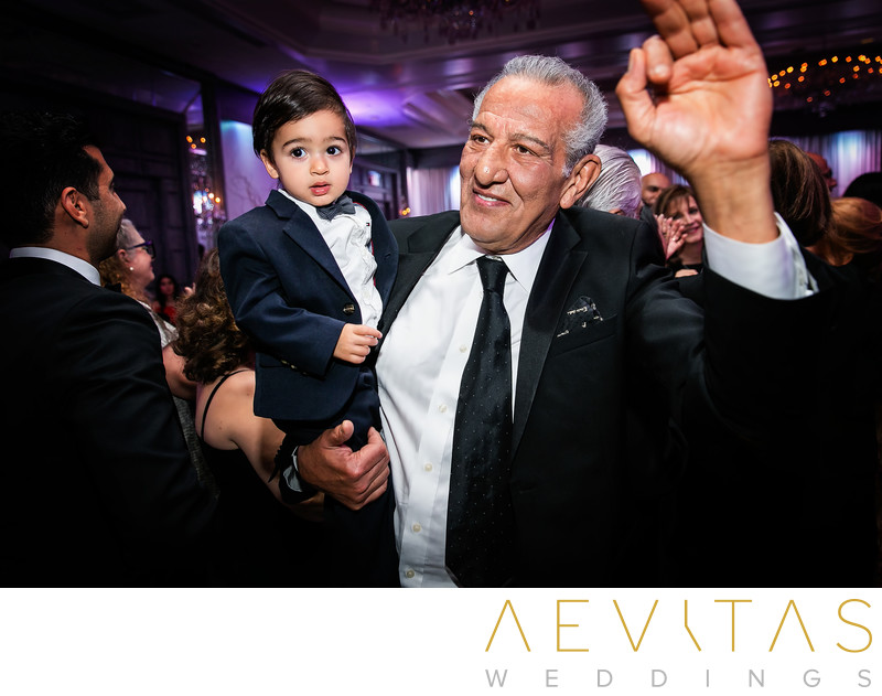 Young and old wedding guests at Century City reception