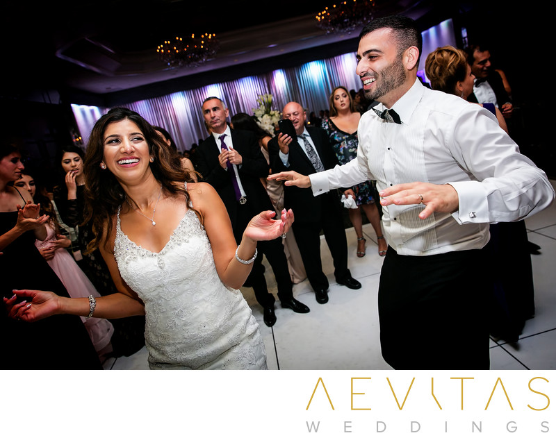Bride and groom dancing at Jewish reception in LA