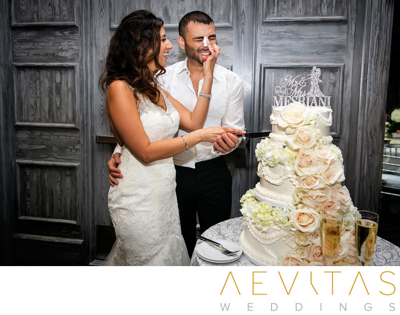 Couple with wedding cake in Century City