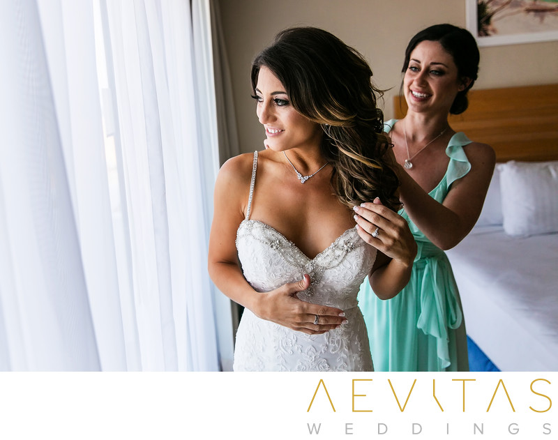 Bride getting ready in suite at Omni Cancun Hotel