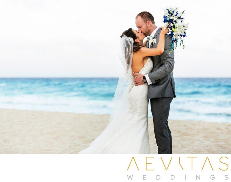 Gorgeous couple portrait by Cancun wedding photographer