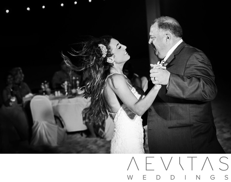 Father-daughter dance at Cancun beach wedding reception