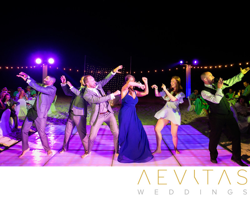 Funny dance photo at Cancun beach wedding reception
