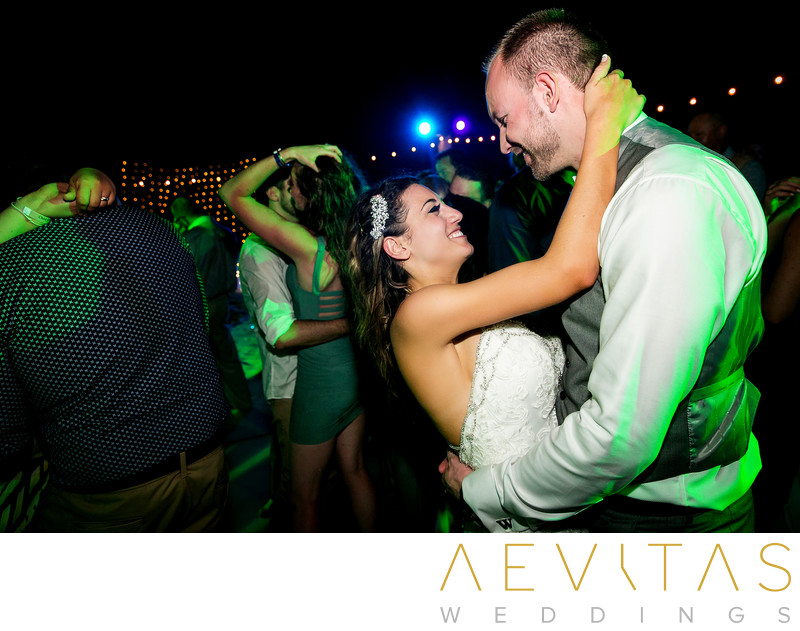 Intimate couple photo dancing at Cancun wedding