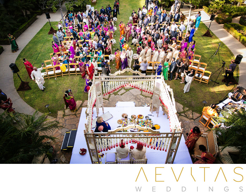 Elevated view of Hindu wedding at Estancia La Jolla