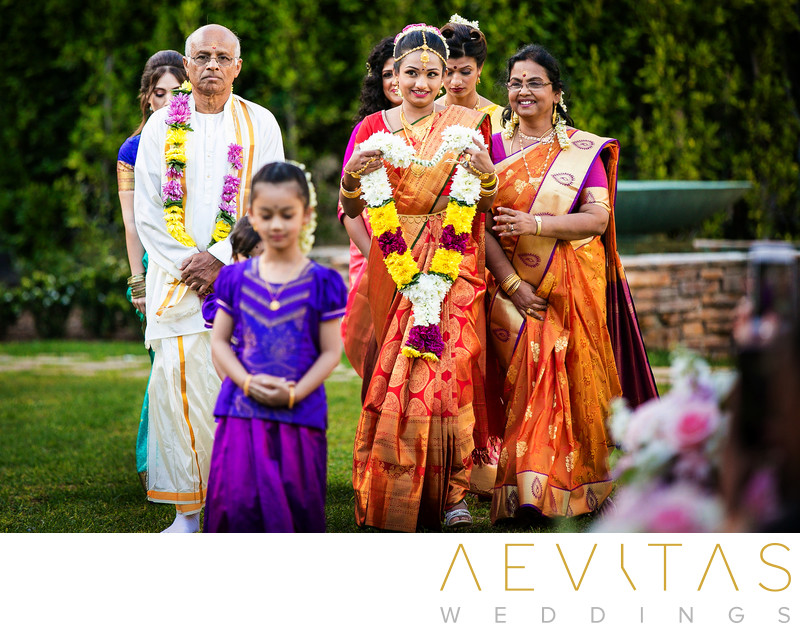Bride and family at Hindu wedding in San Diego