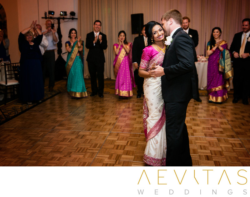 Couple dancing with guests at Estancia La Jolla Hotel