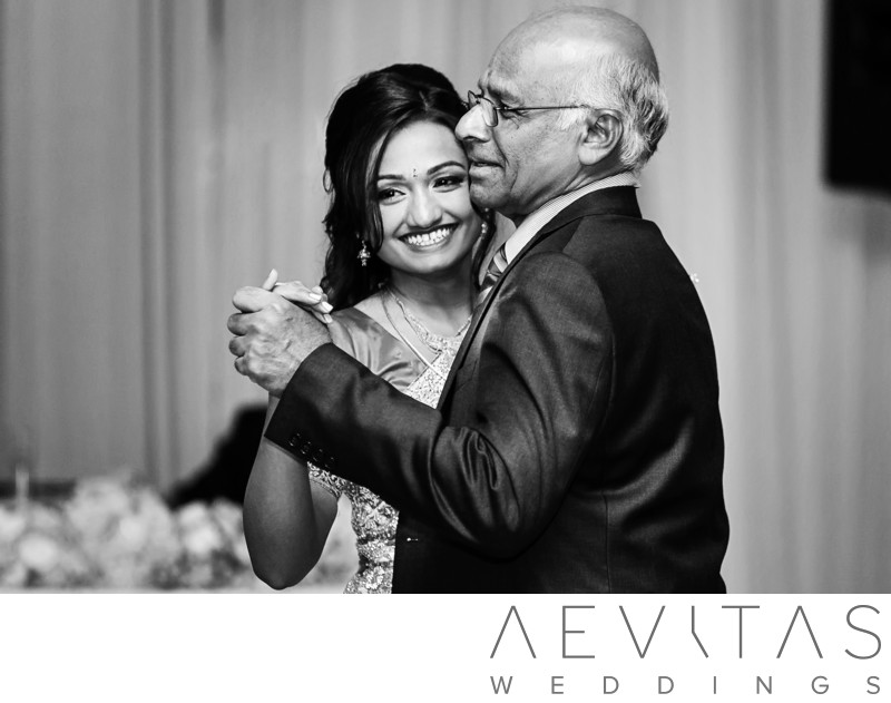 Black and white father-daughter dance wedding photo