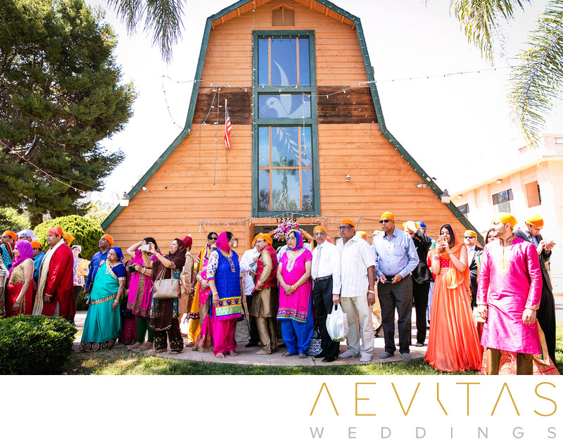 Wedding guests at Sikh Gurdwara Temple in Poway