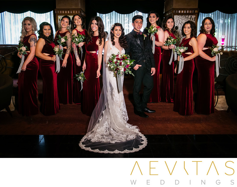 Creative bride, bridesmaids and bridesman portrait LA