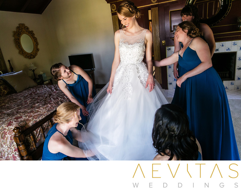 Bride getting ready bridesmaids Palos Verdes Estates