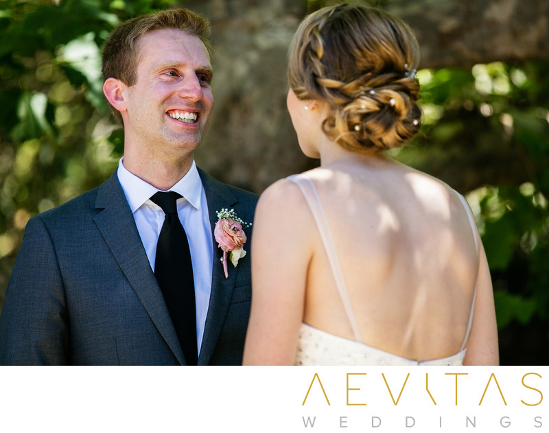 Groom reaction at Palos Verdes Estates first look