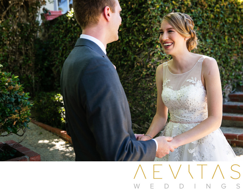 Bride reaction at Palos Verdes Estates first look