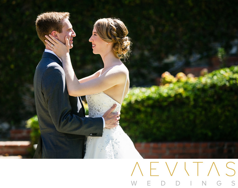 Tender couple moment at Palos Verdes Estates wedding