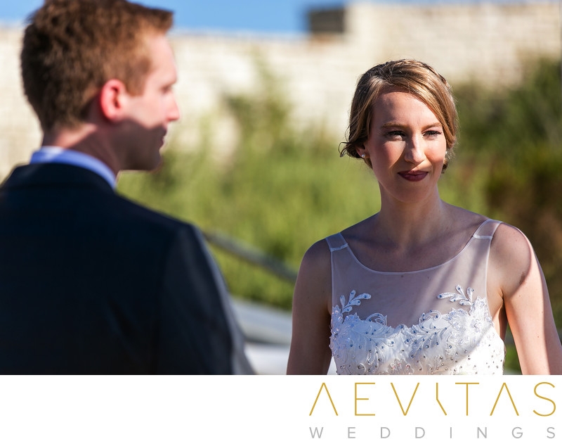 Candid couple photo at Point Vicente wedding ceremony