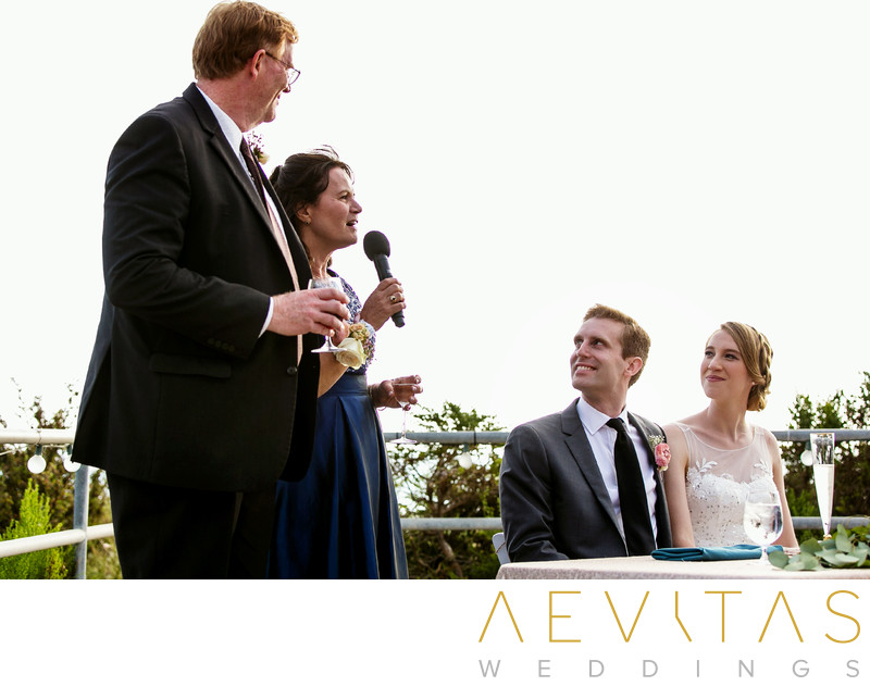 Parent speech with couple at Point Vicente reception