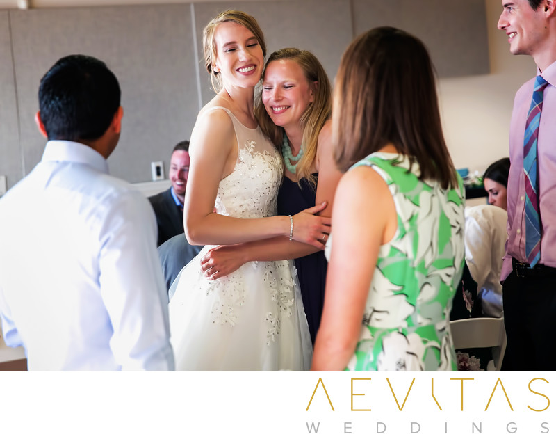 Bride greets guests at Point Vicente wedding reception
