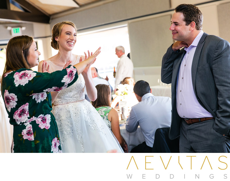 Bride smiling with guests at Point Vicente wedding