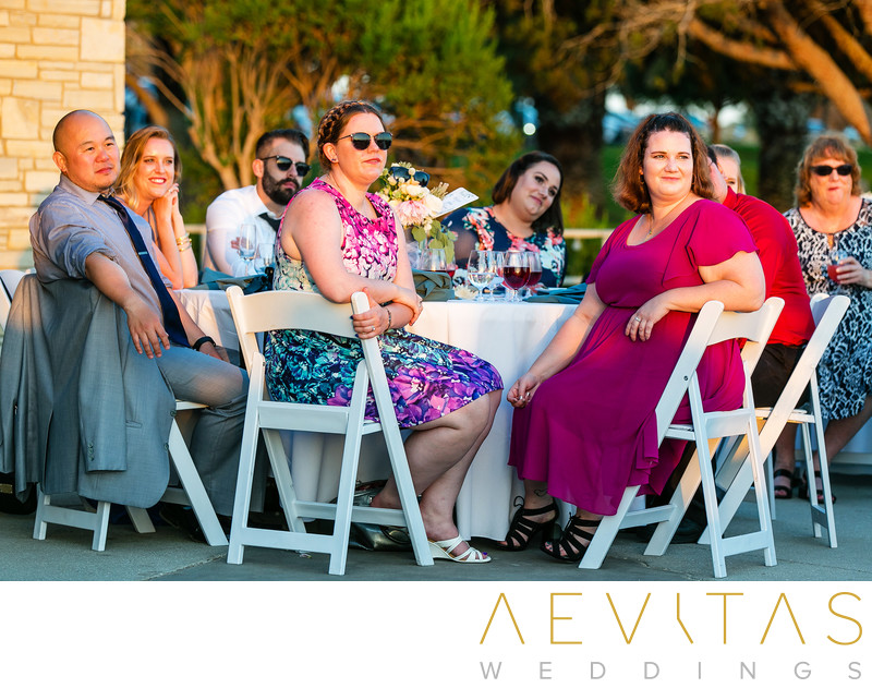 Guests at sunset reception in Rancho Palos Verdes
